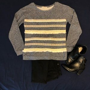 Heather blue/gray sweater with textured details